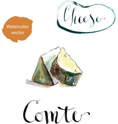 Portion of comte fort cheese vector