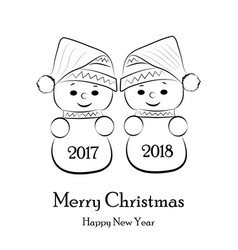 postcard for the new year and christmas with vector image vector image