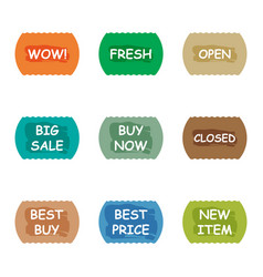 Sale promotion tear banner sticker label set vector