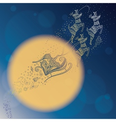 Santa in the night sky vector image