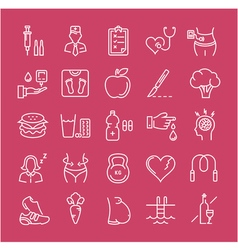 Set flat line icons diabet vector