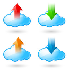 set of cloud with arrows on white background vector image