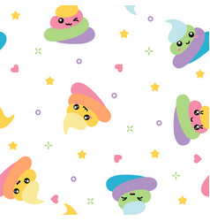 Unicorn cute poop seamless pattern rainbow vector