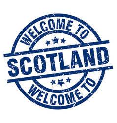 Welcome to scotland blue stamp vector
