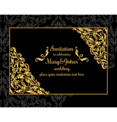 Gold ornamental card with antique luxury black vector