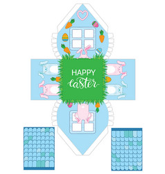 Printable gift easter house with banny eggs vector