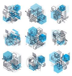 Abstract backgrounds with isometric lines vector