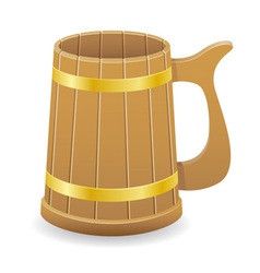 wooden beer mug 01 vector image