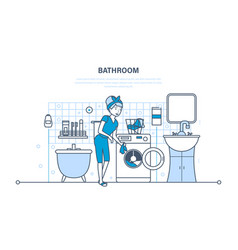 Girl is engaged in washing cleaning in bathroom vector