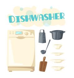Dishwasher appliance and kitchen dishware vector