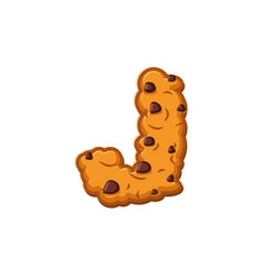 J letter cookies cookie font oatmeal biscuit vector