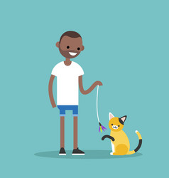 Young black character playing with a cat flat vector