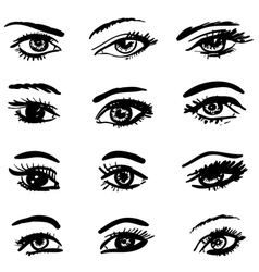 hand drawn eyes collection vector image