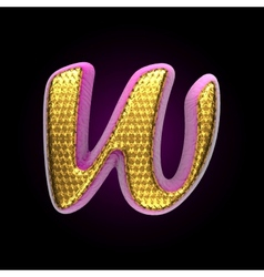 Golden and pink letter w vector