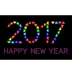 2017 Happy New Year greeting card colorful hearts vector image