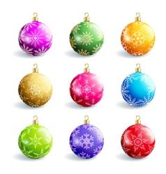 Set of decorative colorful christmas balls vector image
