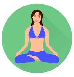 Girl in yoga pose - lotus vector