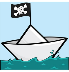 Pirate paper boat vector