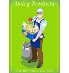 Dairy services people isometric vector
