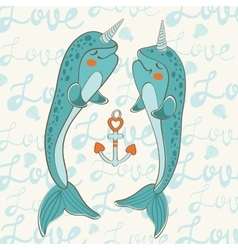 Couple of narwhals in love vector