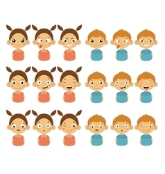 Cute girl and boy faces showing different emotions vector
