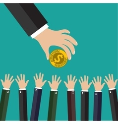 Hand of businessman giving money vector