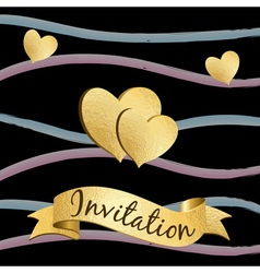 Gold doodle heart invitation card 1 vector