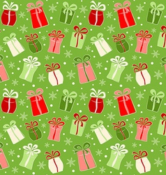 Seamless pattern with color gifts and snowflakes vector