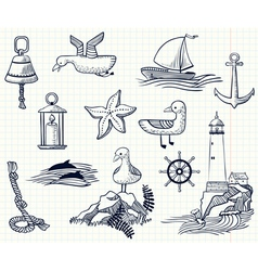 Sketchy nautical objects vector