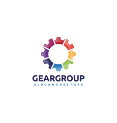 Gear group team logo vector