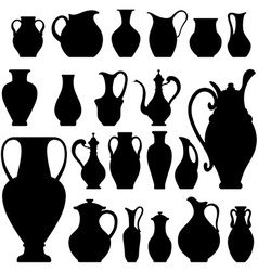 Silhouettes of vases isolated on white crockery vector