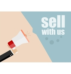 Sell with us flat design business vector
