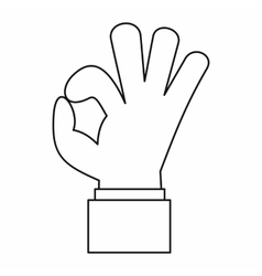 Ok gesture icon outline style vector