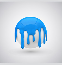 ball with paint drops blue vector image vector image