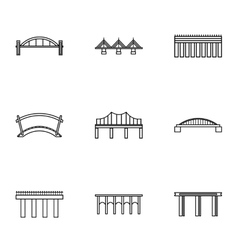 Bridge transition icons set outline style vector