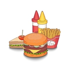 cartoon fast-food meal vector image vector image