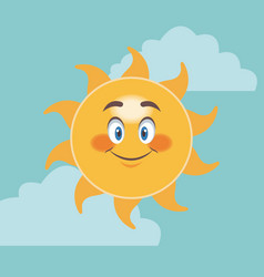 cheerful cartoon sun smile facial expression image vector image vector image