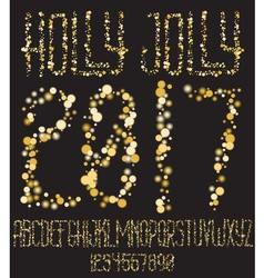Christmas shining gold glitter font vector