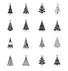 Christmas tree icons black vector image vector image