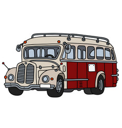 Classic red and cream bus vector