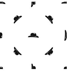 cowboy hat pattern seamless black vector image vector image