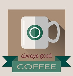 Cup of coffee in flat design with sha vector
