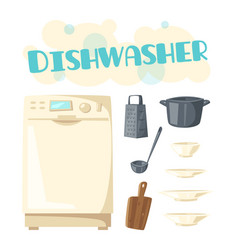 Dishwasher appliance and kitchen dishware vector