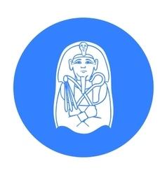 Egyptian pharaoh sarcophagus icon in black style vector