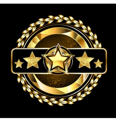 Emblem with golden stars vector