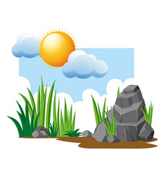 Garden scene with grass and rocks vector