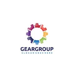 Gear group team logo vector