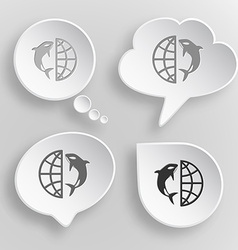 Globe and shamoo white flat buttons on gray vector