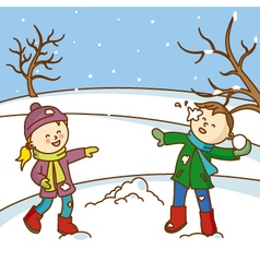 Happy kids playing to throw snowballs vector