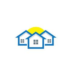 Home real estate sun business logo vector